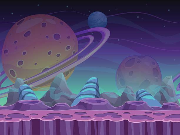 Fantasy seamless alien landscape vector art illustration