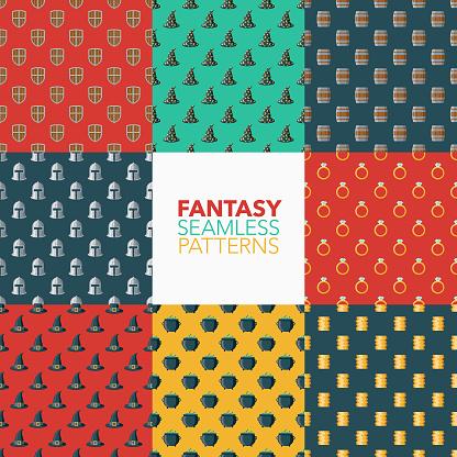 Fantasy Seamless Pattern Set