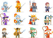 Fantasy set rpg game heroes character vector icons flat design vector illustration
