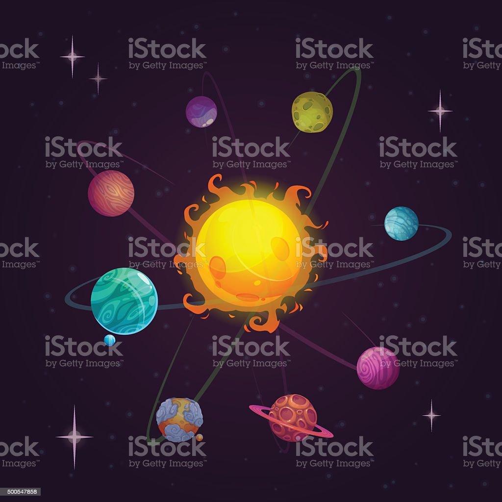 Fantasy solar system vector art illustration