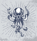 Fantasy squid creature with skull head on grunge background and star rays. Vector illustration in engraving technique for posters, t-shirt prints, tattoo, labels and stickers.