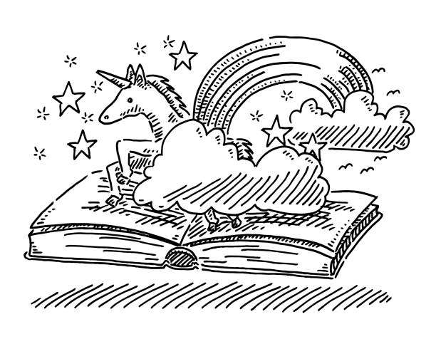 fantasy story book concept unicorn drawing - unicorn line drawings stock illustrations, clip art, cartoons, & icons