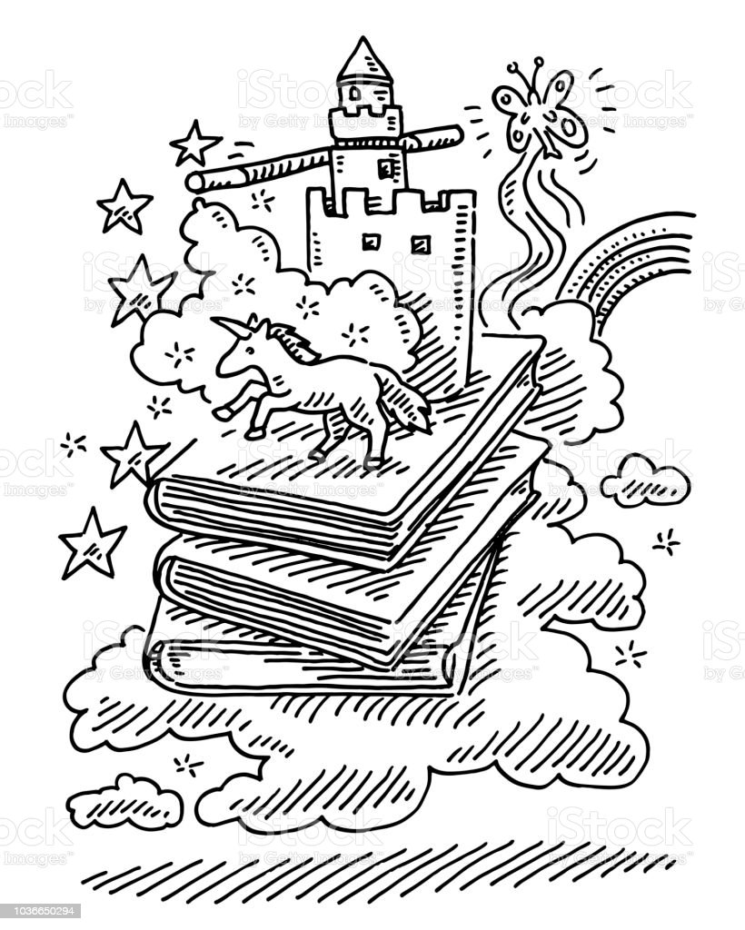 Fantasy Story Books Unicorn Fairy Tale Drawing Stock