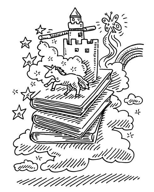 fantasy-geschichte bücher einhorn märchen zeichnung - geistergeschichten stock-grafiken, -clipart, -cartoons und -symbole