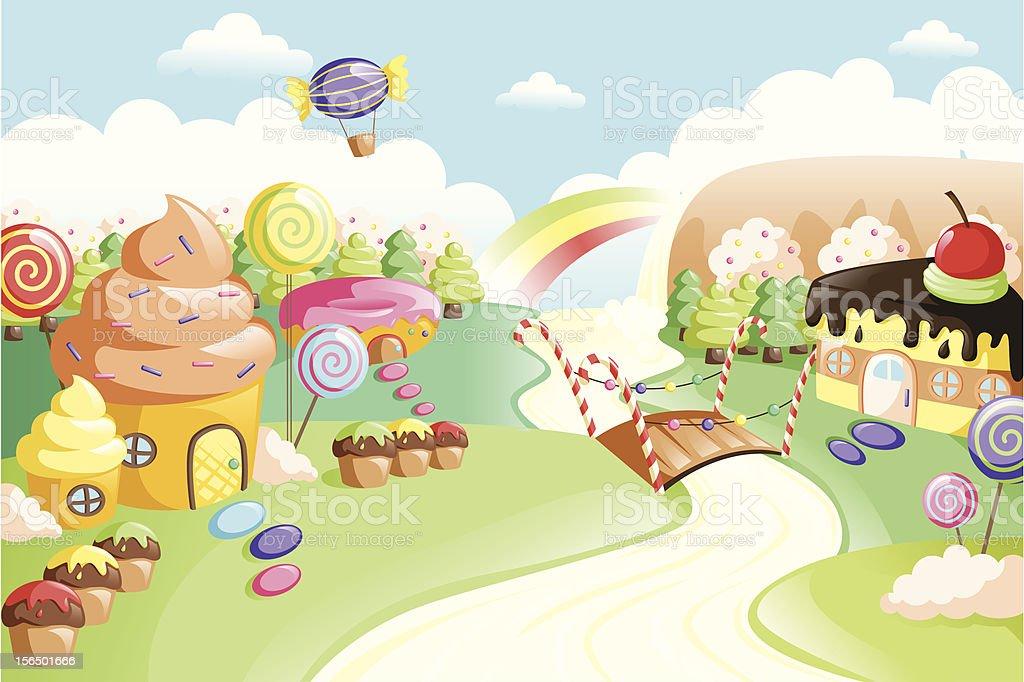 Fantasy sweet food land vector art illustration