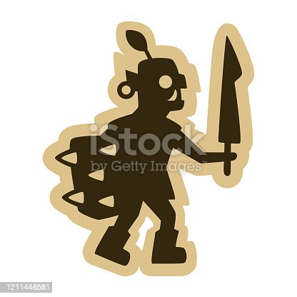 Medieval fantasy orc with a sword and a spiked shield isolated on white.
