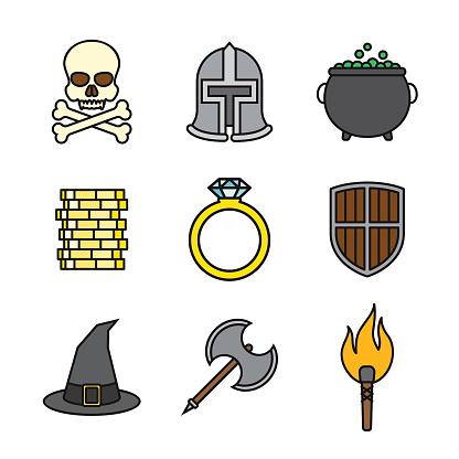 Fantasy Thin Line Icon Set