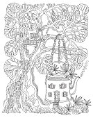 Fantasy Tree house and Futuristic home in tea pot with fly agaric mushrooms and cannabis hemp leaves on a white background. Hippie party invitation, batik print, adults coloring book page