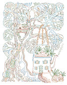 Fantasy Tree house and Futuristic house in tea pot in psychedelic colors with fly agaric mushrooms and cannabis hemp leaves on a white background. Hippie party invitation, batik print, coloring book