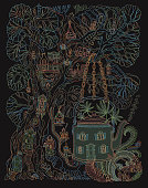 Fantasy Tree house and Futuristic house in tea pot in psychedelic colors with fly agaric mushrooms and cannabis hemp leaves on a black background. Hippie party invitation, batik print, humor wallpaper