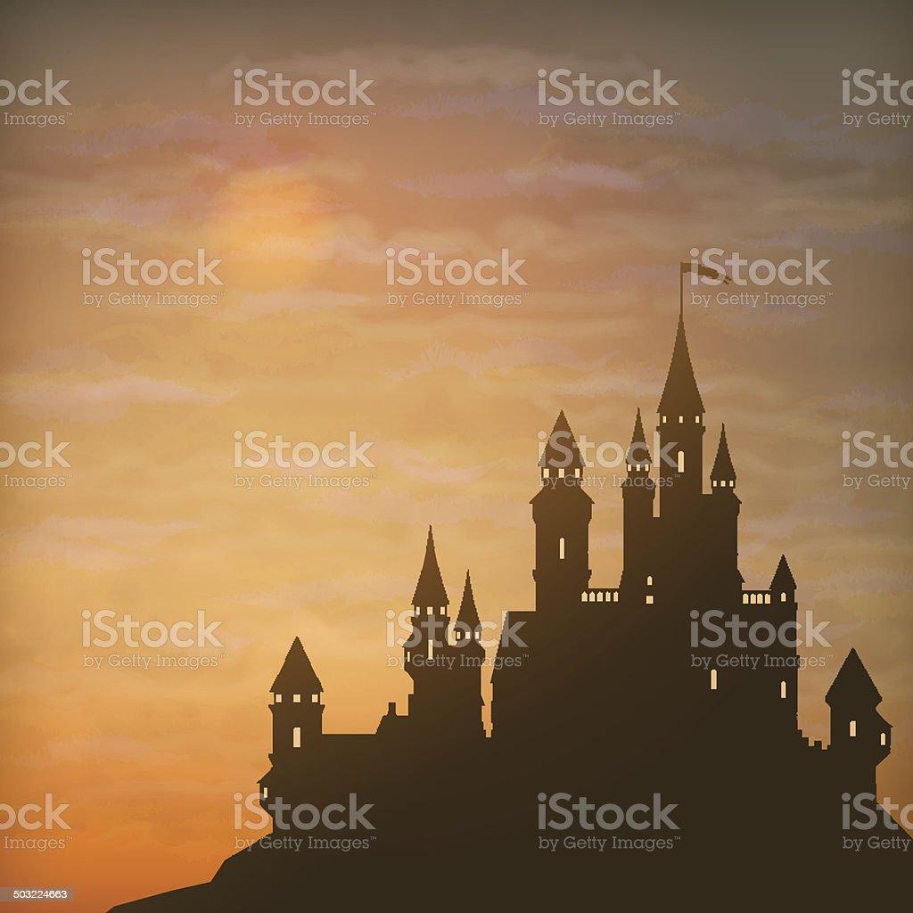 Fantasy Vector Castle Moonlight Sky vector art illustration