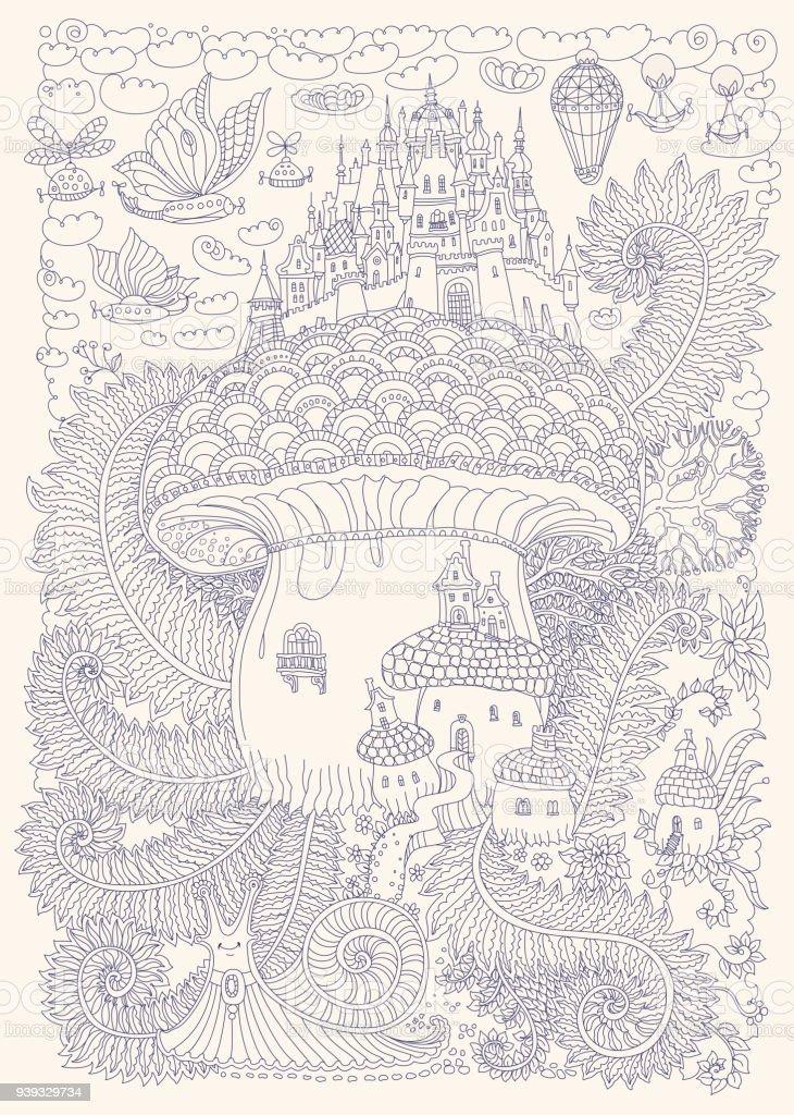 Ilustración de Paisaje De Vector De Fantasía Castillo Medieval De ...