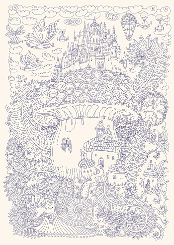 Fantasy vector landscape. Fairy tale medieval castle on a fantastic mushroom. Stylized fern foliage, snail. Flying balloon.T-shirt print. Album cover,card. Adults and children coloring book page. Dark blue and beige