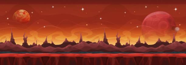 fantasie breiten sci-fi mars hintergrund für ui-spiel - landscape crazy stock-grafiken, -clipart, -cartoons und -symbole