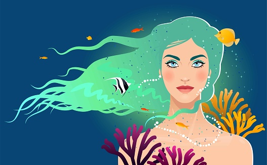 Fantasy woman with coral fish
