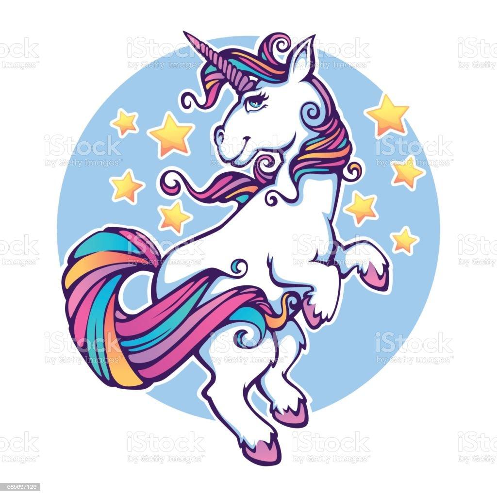 Fantasy World Rainbow Unicorn Vector Print Stock