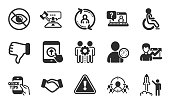 istock Faq, Not looking and Dislike hand icons set. Success business, Business targeting and Swipe up signs. Vector 1318794972
