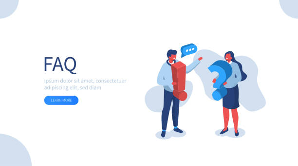faq People Characters holding Exclamations and Question Marks. Woman and Man Ask Questions and receive Answers. Online Support center. Frequently Asked Questions Concept. Flat Vector Illustration. faq stock illustrations