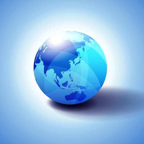 極東の中国、日本、マレーシア、タイ、インドネシア、地球のアイコンの 3 d イラスト背景 - アジア地図点のイラスト素材/クリップアート素材/マンガ素材/アイコン素材