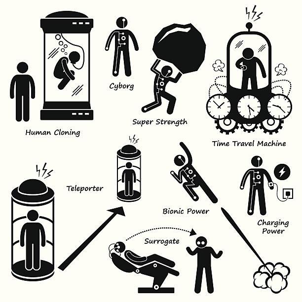 Far Future Human Technology Science Fiction Pictogram Icon Cliparts vector art illustration