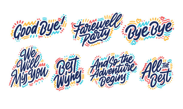 faremell02-04 Hand drawn set of handwritten short phrases: Goodbye, All The Best, Bye Bye, Best Wishes, And so the adventure, We will miss you, Farewell party. Vector illustration. alphabet clipart stock illustrations