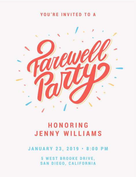 farewell party invitation. - good bye stock illustrations, clip art, cartoons, & icons