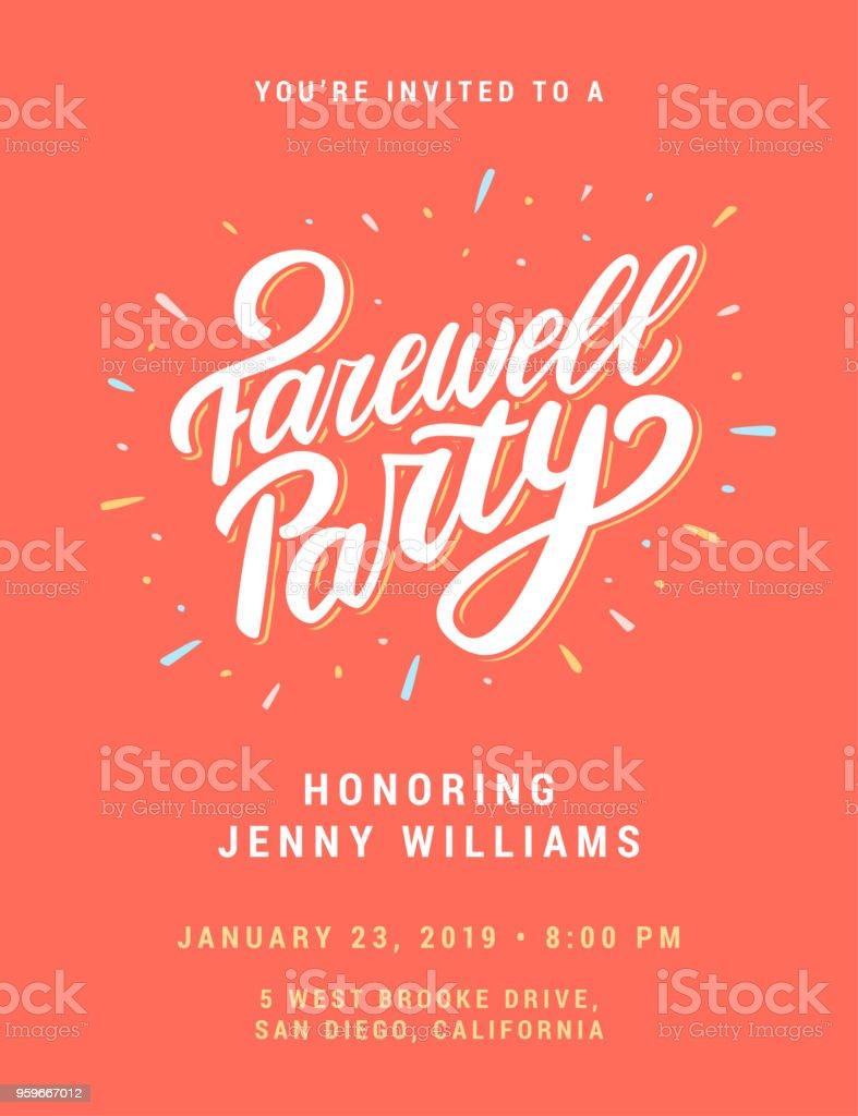 Invitación de la fiesta de despedida. - ilustración de arte vectorial