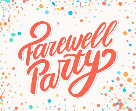 Farewell party. Vector handwritten lettering banner. Vector illustration.