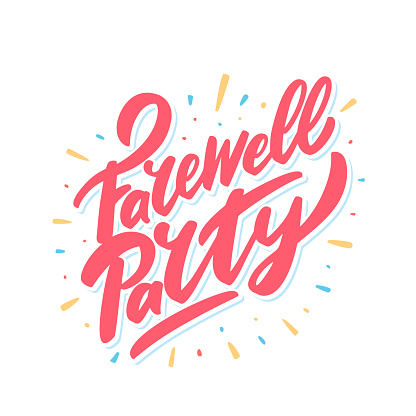 Farewell party. Vector lettering.