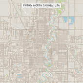 Vector Illustration of a City Street Map of Fargo, North Dakota, USA. Scale 1:60,000. All source data is in the public domain. U.S. Geological Survey, US Topo Used Layers: USGS The National Map: National Hydrography Dataset (NHD) USGS The National Map: National Transportation Dataset (NTD)