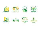 istock Farm, agriculture, harvest logo template 1175621478