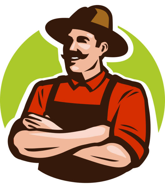 Farm, agriculture   or label. Happy farmer, grower cartoon. Vector illustration Farm, agriculture   or label. Happy farmer, grower cartoon Vector rancher illustrations stock illustrations