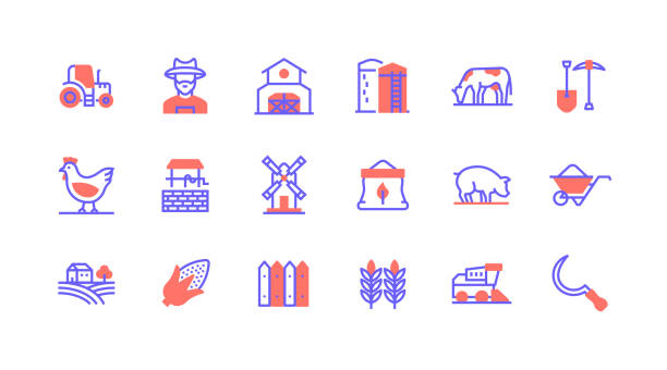 bauernhof, landwirtschaft, traktor, bauer, festscheune ikonen. - aerial overview soil stock-grafiken, -clipart, -cartoons und -symbole