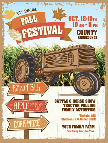 Farm and agricultural Fall Festive show poster design template