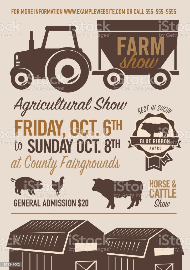 Farm And Agricultural Show Poster Design Template Stock