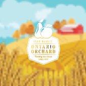 Farm And Agriculture Badge over a Blurred Farm Scene