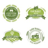 Farm And Agriculture Badge or Label with banner and elements