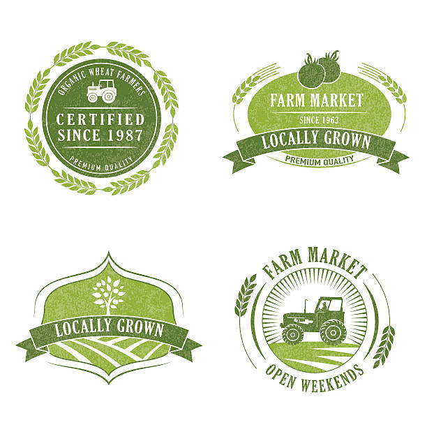 Farm And Agriculture Badge or Label Farm And Agriculture Badge or Label with banner and elements farmer's market stock illustrations