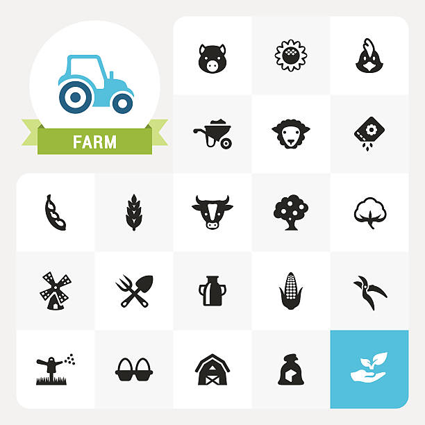 bildbanksillustrationer, clip art samt tecknat material och ikoner med farm and agriculture base vector icons and label - cotton growing