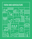 Farm and Agriculture Concept. Geometric Retro Style Banner and Poster Concept with Farm and Agriculture Line Icons