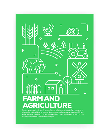 Farm and Agriculture Concept Line Style Cover Design for Annual Report, Flyer, Brochure.