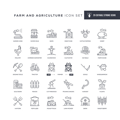 Farm and Agriculture Editable Stroke Line Icons