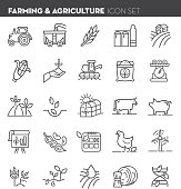 Farm and agriculture Flat Simple outline line art design Icon set