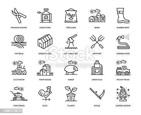 Farm and Agriculture Icon Set - Thin Line Series