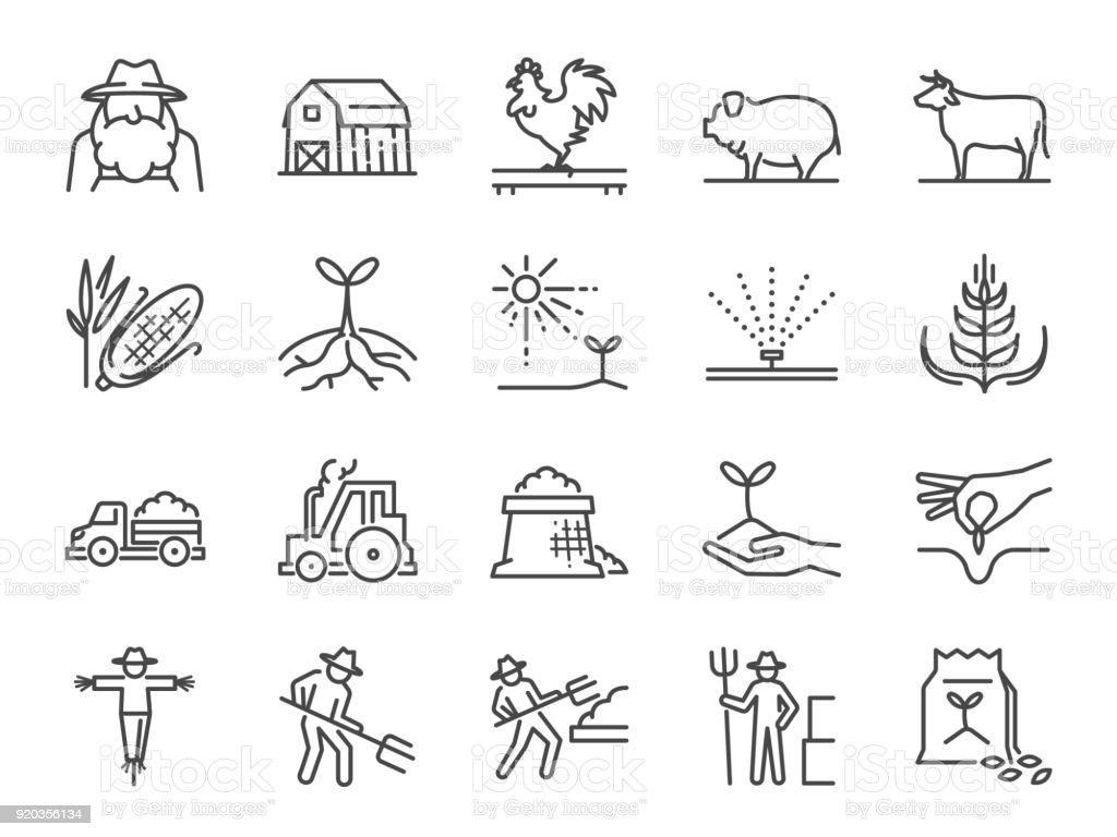 Jeu d'icônes ligne ferme et l'agriculture. Inclus les icônes comme agriculteur, culture, plante, culture, élevage, bovins, ferme, grange et plus. - Illustration vectorielle