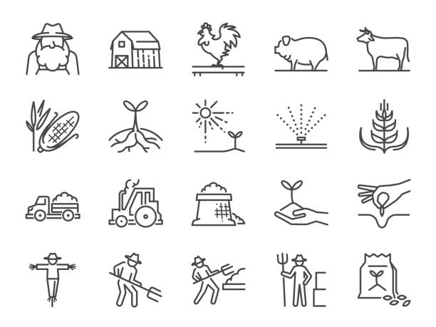 Farm and agriculture line icon set. Included the icons as farmer, cultivation, plant, crop, livestock, cattle, farm, barn and more. Farm and agriculture line icon set. Included the icons as farmer, cultivation, plant, crop, livestock, cattle, farm, barn and more. farmer stock illustrations