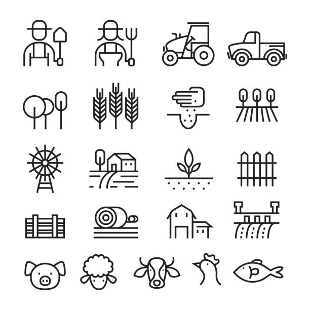 Farm and Agriculture Line Icons Set Farmers, Plantation, Gardening, Animals, Objects farmer stock illustrations