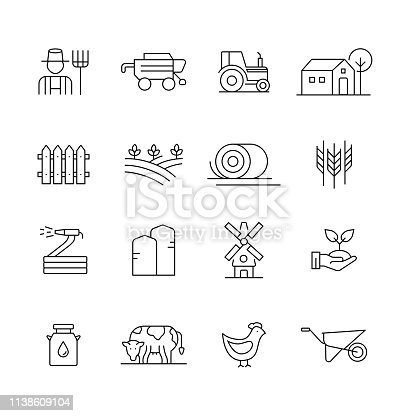 Farm and Agriculture - Set of Thin Line Vector Icons