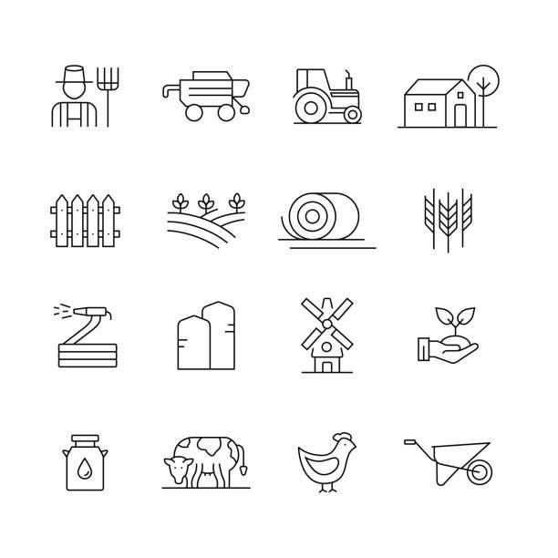 illustrations, cliparts, dessins animés et icônes de ferme et agriculture-ensemble d'icônes de vecteur de ligne mince - agriculture