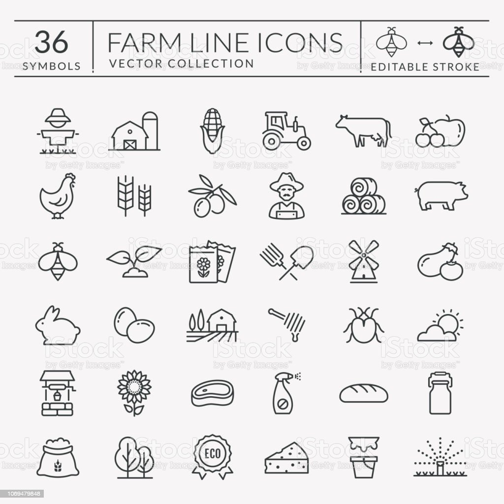 Farm and agriculture vector line icons. Editable stroke. - arte vettoriale royalty-free di Agricoltore